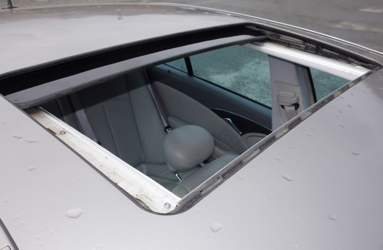 The sunroof blew off the car when it was being driven at about 90km/hour on the M1.