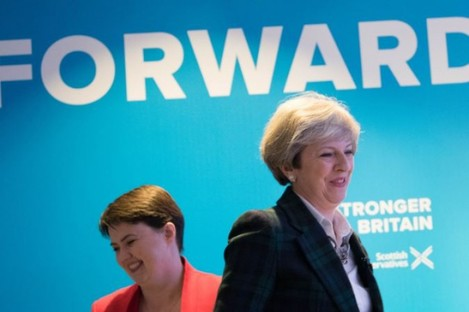 Conservative party leader Theresa May and Scottish Conservative leader Ruth Davidson in Edinburgh today