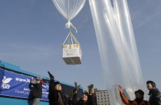 Packages of warm socks sent to North Koreans... by balloon