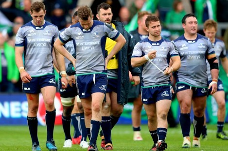 Connacht players dejected after Saturday's defeat.