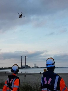 While training last night, the Coast Guard was called to help tourists adrift near Sandymount beach