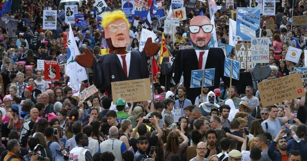 'Trump Not Welcome': Irish anti-war activists in Brussels for protest at Nato summit