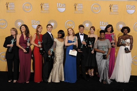 The cast of 'The Help' celebrate after winning the top award at the SAG awards.