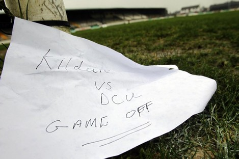 The view from Saint Conleth's Park, Newbridge where the O'Byrne Cup final was cancelled due to poor weather conditions.