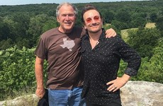 Bono is hanging out with George W Bush at his Texas ranch, for some reason