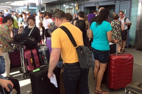 Passengers faced long delays in Heathrow Terminal 5, in particular, yesterday.