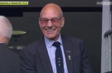 Everyone is absolutely loving Patrick Stewart's reaction to his team getting into the Premiership
