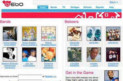 The Bebo.com homepage, circa 2007. Last night the site went down - possibly forever.