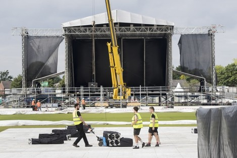 The stage set up for the concert this weekend.