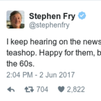 Stephen Fry made a joke about Ireland's 'first openly gay teashop' and some people took him too literally