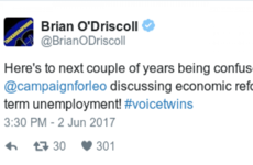 Brian O'Driscoll sent a gas tweet about his 'voice twin' Leo Varadkar last night