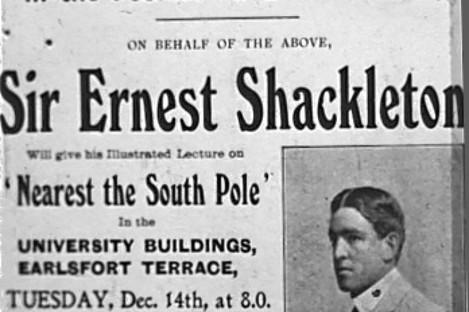 Notice advertising Ernest Shackleton's visit to Dublin in December 1909