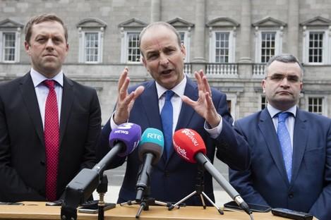 Fianna Fáil leader Micheál Martin speaking to the media following his meeting with Leo Varadkar today.