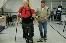VIDEO: Blind and paralysed Irish adventurer 'walks' with robotic legs