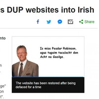 An old story about the DUP's website getting hacked as Gaeilge has gone viral