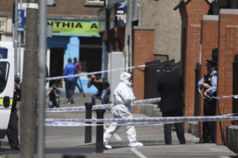 Gardaí investigating at the scene of the shooting in North Cumberland Street.