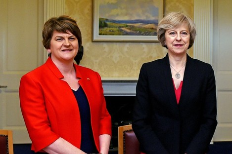 File photo dated 25/7/2016 of Arlene Foster (left), leader of the Democratic Unionist Party, with UK Prime Minister Theresa May.