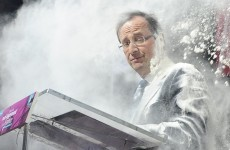French presidential candidate hit by flour during speech