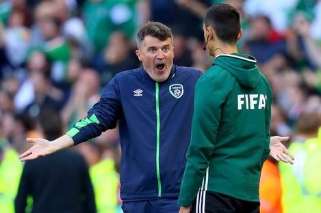 Keane reacting after Ireland's disallowed goal on Sunday.