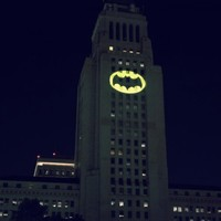 The bat signal was beamed over LA last night as a lovely tribute to Adam West