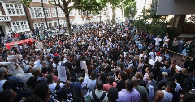 Angry protesters storm town hall shouting 'We want justice' over London tower block fire