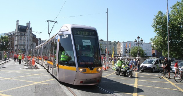 Ding ding ding - the Luas has taken its first trip across O'Connell Bridge