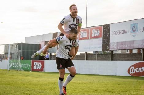 Dundalk's Stephen O'Donnell congratulates goal scorer Patrick McEleney.
