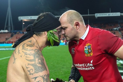 Best receives a hongi after the match in Hamilton.