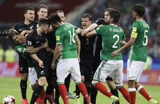 Feisty game ends with mass brawl as Mexico survive New Zealand scare