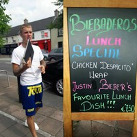 Justin Bieber ended up eating in that Maynooth restaurant three times so they named a meal after him