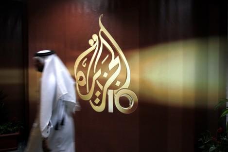 File photo the logo of Al Jazeera in Doha.