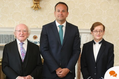 Former Attorney General Maire Whelan with President Michael D Higgins and Taoiseach Leo Varadkar after she was appointed a Judge of the Appeal Court.