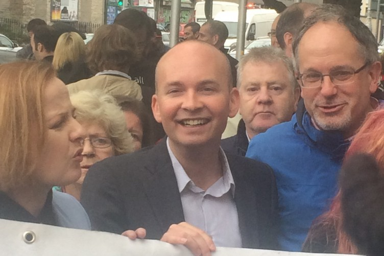 Paul Murphy (centre) with Ruth Coppinger and Mick Barry
