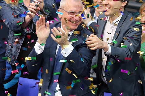 Green Party members of parliament celebrate