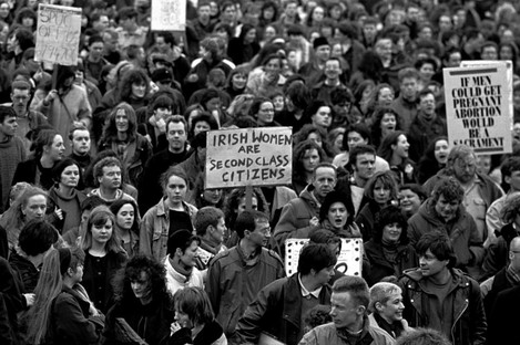 People call for more information about abortion during a demonstration in February 1992.