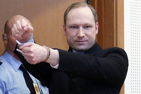 Anders Behring Breivik gestures in court.