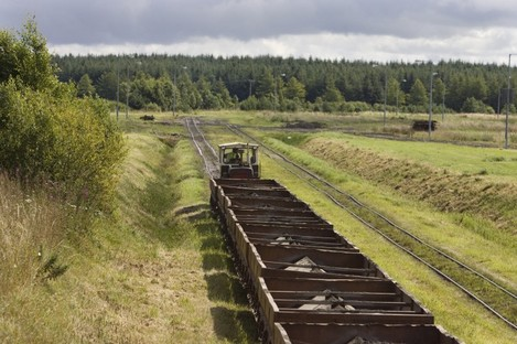 A train carrying peat fuel across the Bog of Allen for Bord Na Mona's Edenderry power station