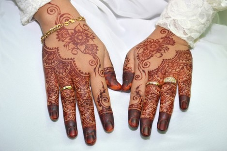 File photo of henna on an Indonesian bride's hands