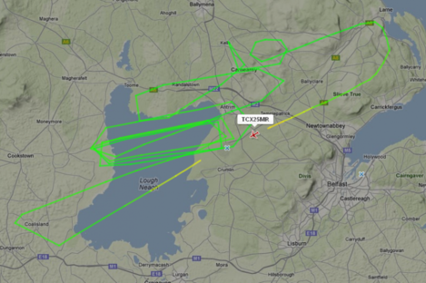 A log from FlightRadar24.com shows the path of the Thomas Cook Airlines plane as it circled Belfast.