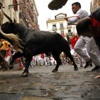 Pamplona police chase down Italians fleeing a restaurant bill after the bull run