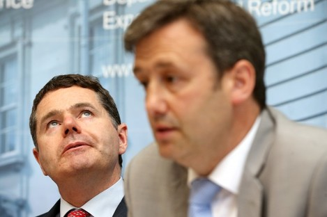 Finance and Public Expenditure Minister Paschal Donohoe with Junior Finance Minister Michael D'Arcy.