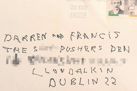The envelope sent to Cllr Francis Timmons.