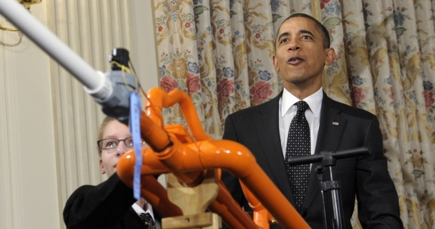 Back up, guys: Obama shoots a marshmallow from a cannon in the White House