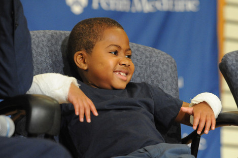 Zion Harvey weeks after his hand transplant