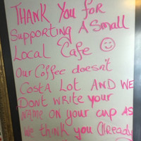 An independent cafe in Arklow put up a brilliant sign after Starbucks and Costa opened in the town