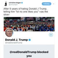 Donald Trump just blocked Chrissy Teigen on Twitter after 9 years of her calling him out
