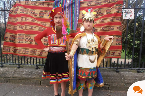 Peruvians in Ireland, dressed in their national costume