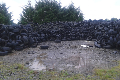 Stockpiles of tyres in County Monaghan.