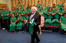 Michael D Higgins dropped into the women's rugby team ahead of their first World Cup match