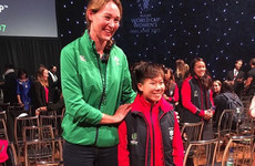 This photo of the tallest player in the Women's Rugby World Cup standing next to the shortest player is delightful